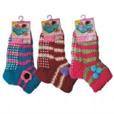 Wholesale Footwear Girls Slipper Socks with Gripper Bottom Size 6-8