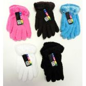 Wholesale Footwear Ladies Stretch Solid Fuzzy Gloves With Feathered Cuff