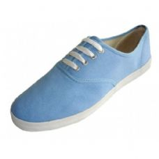 Wholesale Footwear Men's Lace Up Casual Canvas Shoes ( *Sky Blue Color )