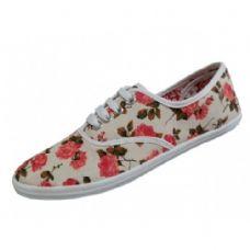Wholesale Footwear Women's Print Canvas Shoes Floral Print