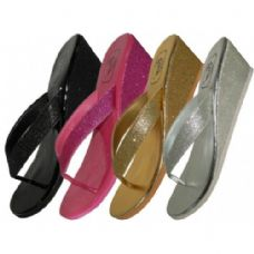 Wholesale Footwear Women's Metallic Glitter Flip Flop Wedges