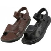 Wholesale Footwear Men's Pu. Leather Upper Velcro Sandals