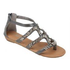 Wholesale Footwear Ladies' Fashion Sandals W/ Beaded Detail In Pewter