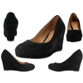 "Wholesale Footwear Women's Microsuede With 3 1/4"" Wedge Black Color Only"
