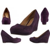 "Wholesale Footwear Women's Microsuede With 3 1/4"" Wedge Purple Color Only"