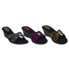 Wholesale Footwear Ladies Wedge Polka dot Strap Bow With Rhinestone Sandal