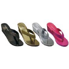 Wholesale Footwear Ladies Fashion Sandal With Glitter Strap