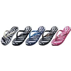 Wholesale Footwear Ladies Zebra Print Flip Flop With Glitter Strap