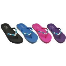 Wholesale Footwear Ladies Color Flip Flop With Stones