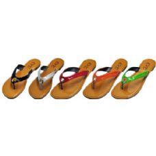 Wholesale Footwear Ladies Color Strap Flip Flop With Loop Design