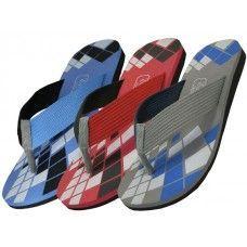 Wholesale Footwear Men's Checkered Sport Flip Flops