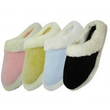 Wholesale Footwear Women's Solid Color Velour With Fur Cuff