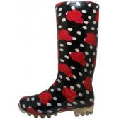 Wholesale Footwear 13 1/4 Inches Women's Black Red Roses Printed Rain Boots Size 5-10