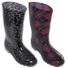 Wholesale Footwear Ladies Printed Rain Boots Size 6-11