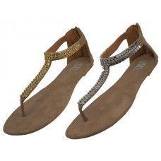 Wholesale Footwear Woman's Micro Suede Rhinestone Sandal