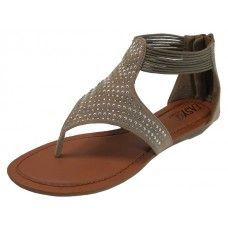 Wholesale Footwear Women's Studded Sandal with Back Zippers