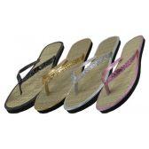 Wholesale Footwear Women's Glitter Straw Insole Flip Flops