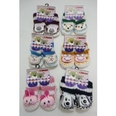 Wholesale Footwear Babies NoN-Slip Knitted Booties With Characters [ 6moS-12mos]