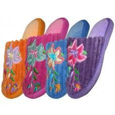 Wholesale Footwear Children's Velvet Floral House Slippers