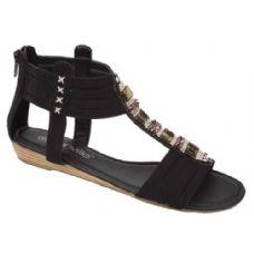 Wholesale Footwear Ladies Fashion Sandals In Black