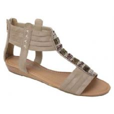 Wholesale Footwear Ladies Fashion Sandals In Khaki