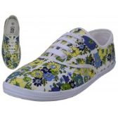 Wholesale Footwear Women's Canvas Lace Up Shoes ( *Yellow Daisy Printed )
