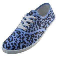 Wholesale Footwear Women's Blue Leopard Printed Canvas Shoes
