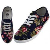 Wholesale Footwear Women's Canvas Lace Up Shoes ( *Navy Roses Print )