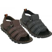 Wholesale Footwear Boy's Soft Man Made Leather Upper Velcro Sandals