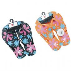 Wholesale Footwear Ladies Flower Design Flip Flops