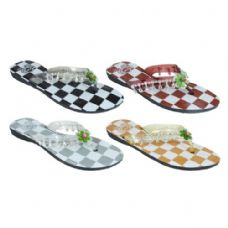 Wholesale Footwear Ladies Checkered Flip Flops