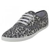 Wholesale Footwear Women's Grey Leopard Print Canvas Shoes