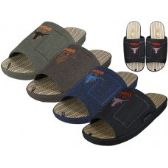 Wholesale Footwear Men Satin Open Toes Embroidery Upper House Slippers