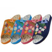 Wholesale Footwear Women's Open Toes Multi Flower Slipper