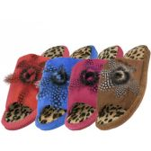Wholesale Footwear Women's Open Toes Feather Top Leopard Print Slippers