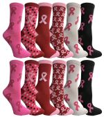 Wholesale Footwear Assorted Printed Breast Cancer Awareness Socks