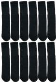 Wholesale Footwear Yacht & Smith 28 Inch Men's Long Tube Socks, Black Cotton Tube Socks Size 10-13