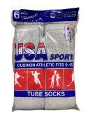 Wholesale Footwear Usa Men's Sport Tube Socks, Referee Style, Size 9-15 Solid Gray
