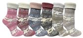 Wholesale Footwear Yacht & Smith Womens Thick Soft Knit Wool Warm Winter Crew Socks, Patterned Lambswool, Fair Isle Print