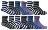 Wholesale Footwear Yacht & Smith Men's Warm Cozy Fuzzy Socks, Stripe Pattern Size 10-13
