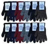 Wholesale Footwear Yacht & Smith Men's Winter Gloves, Magic Stretch Gloves In Assorted Solid Colors Bulk Pack