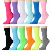 Wholesale Footwear Yacht & Smith Women's Thin Assorted Colors Crew Socks