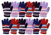Wholesale Footwear Yacht & Smith Womens Warm Assorted Colors Striped Fuzzy Gloves Bulk Buy