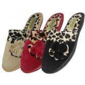Wholesale Footwear Women's Velour Printed Leopard Slippers