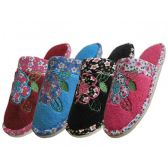 Wholesale Footwear Women's Flower Embroidered Slippers
