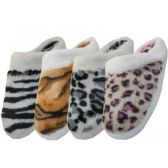 Wholesale Footwear Women's Animal Print Velour With Fur Cuff