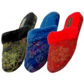 Wholesale Footwear Women's Brocade Plush Slippers