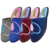 Wholesale Footwear Women's Velour Sequin Heart Shape Slippers