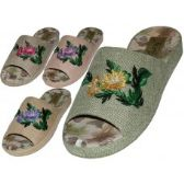 Wholesale Footwear Women's Satin Open Toes Flower Embroidery Upper House Slippers