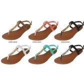 Wholesale Footwear LADIES NUBUCK T-STRAP SANDAL WITH HARDWARE DETAIL